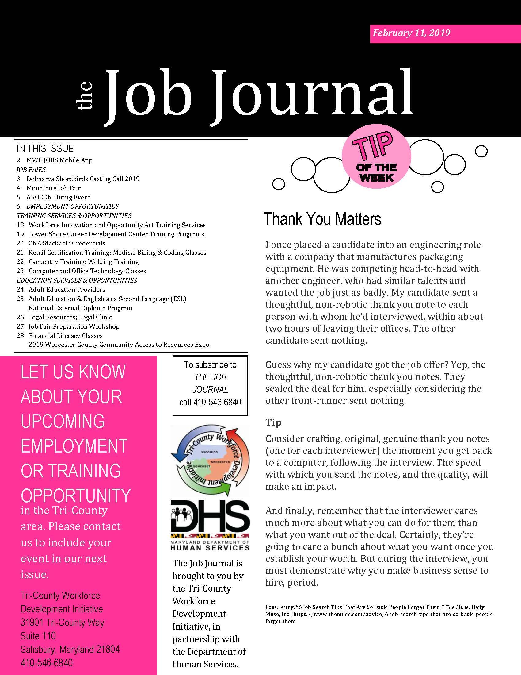 The Job Journal Feb. 11, 2019