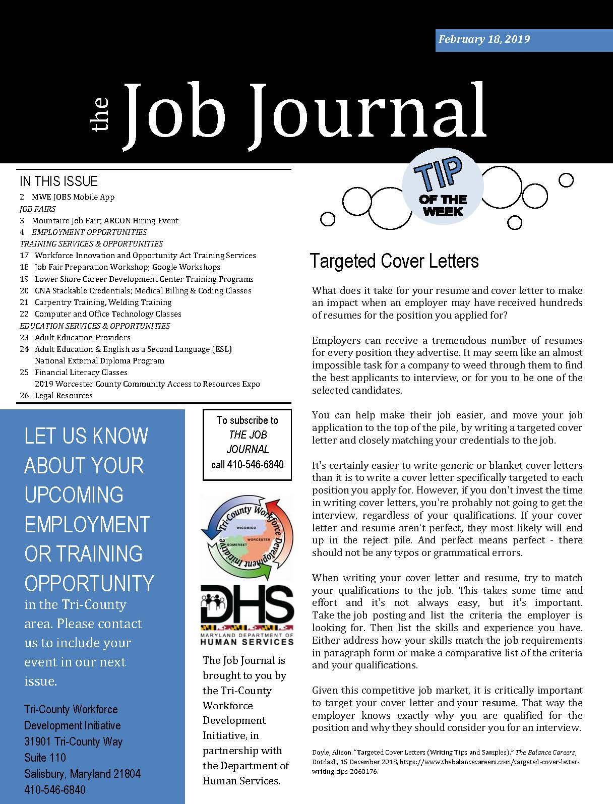 Job Journal cover image 02192019