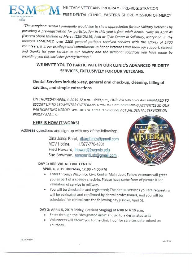 Eastern Shore Mission of Mercy Free Dental Clinic Flyer