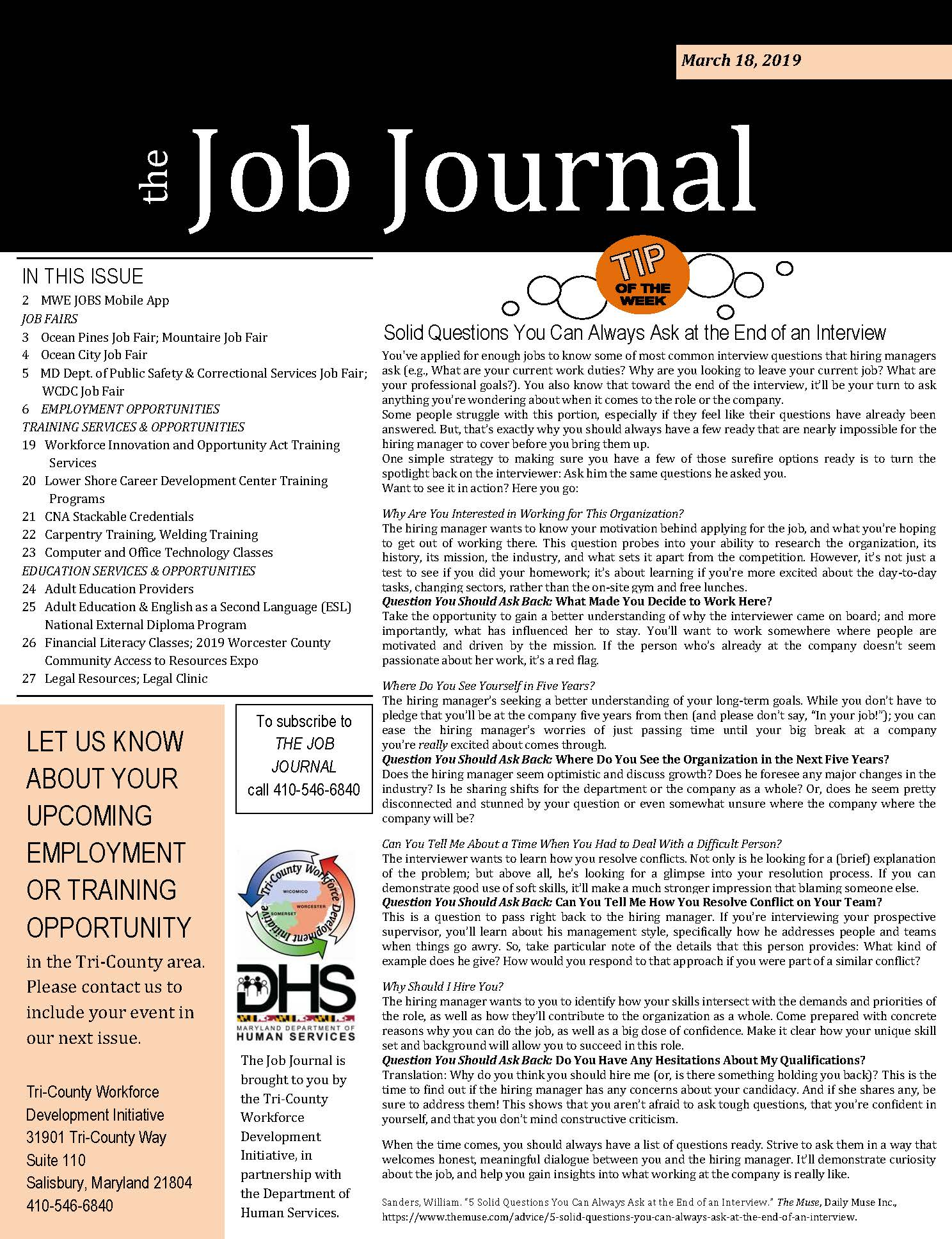 Cover page of The Job Journal for 03182019