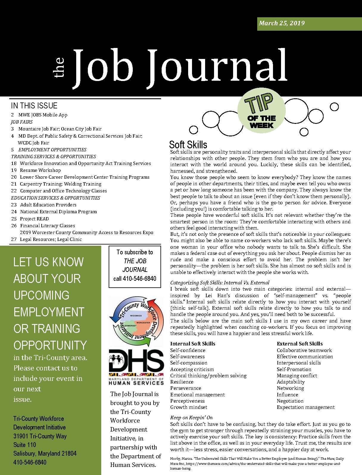 Job Journal 03.25.2019