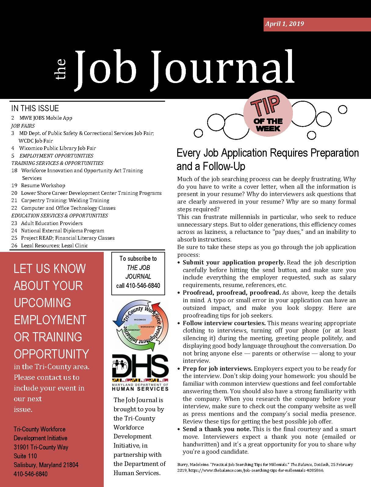 Cover page of the Job Journal 04012019