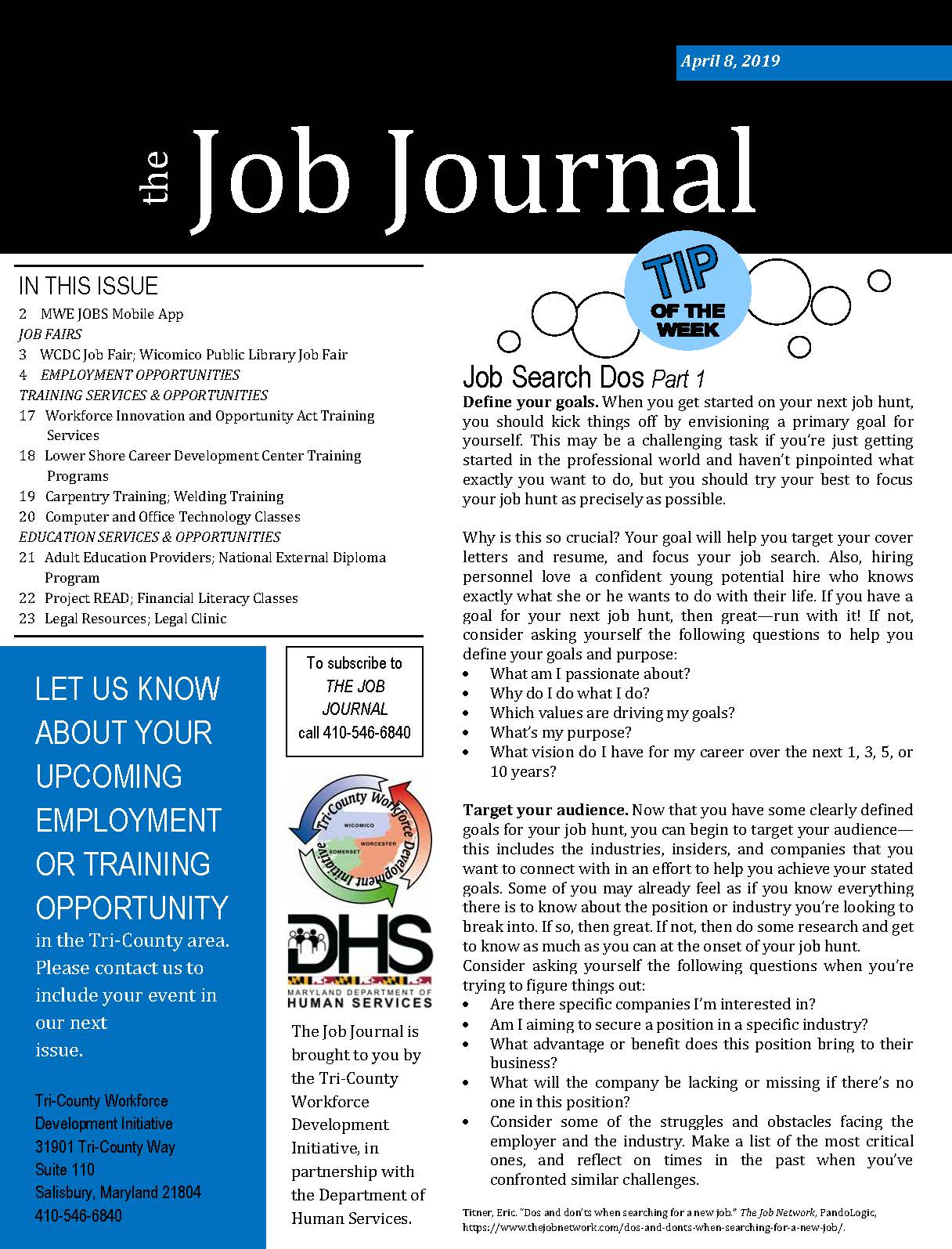 Front page of 04082019 Job Journal