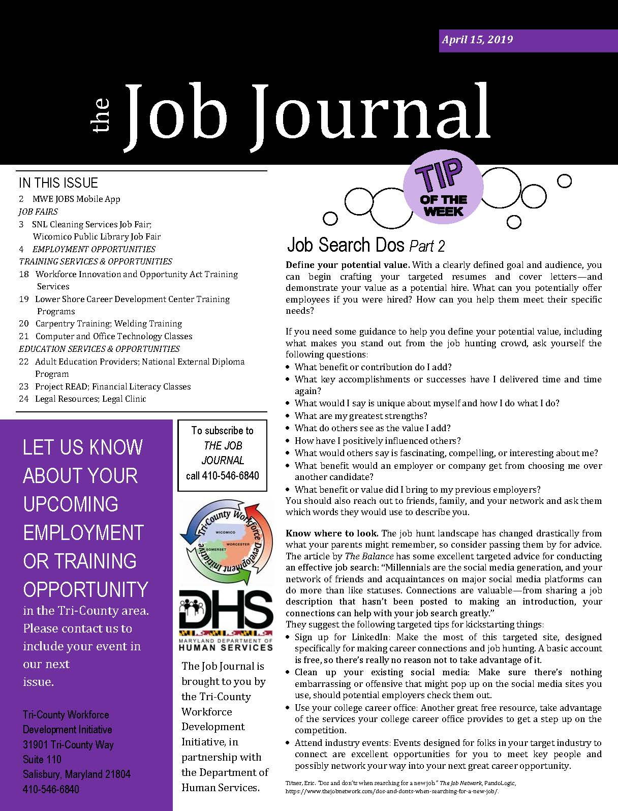 Front page of the April 15, 2019 Job Journal