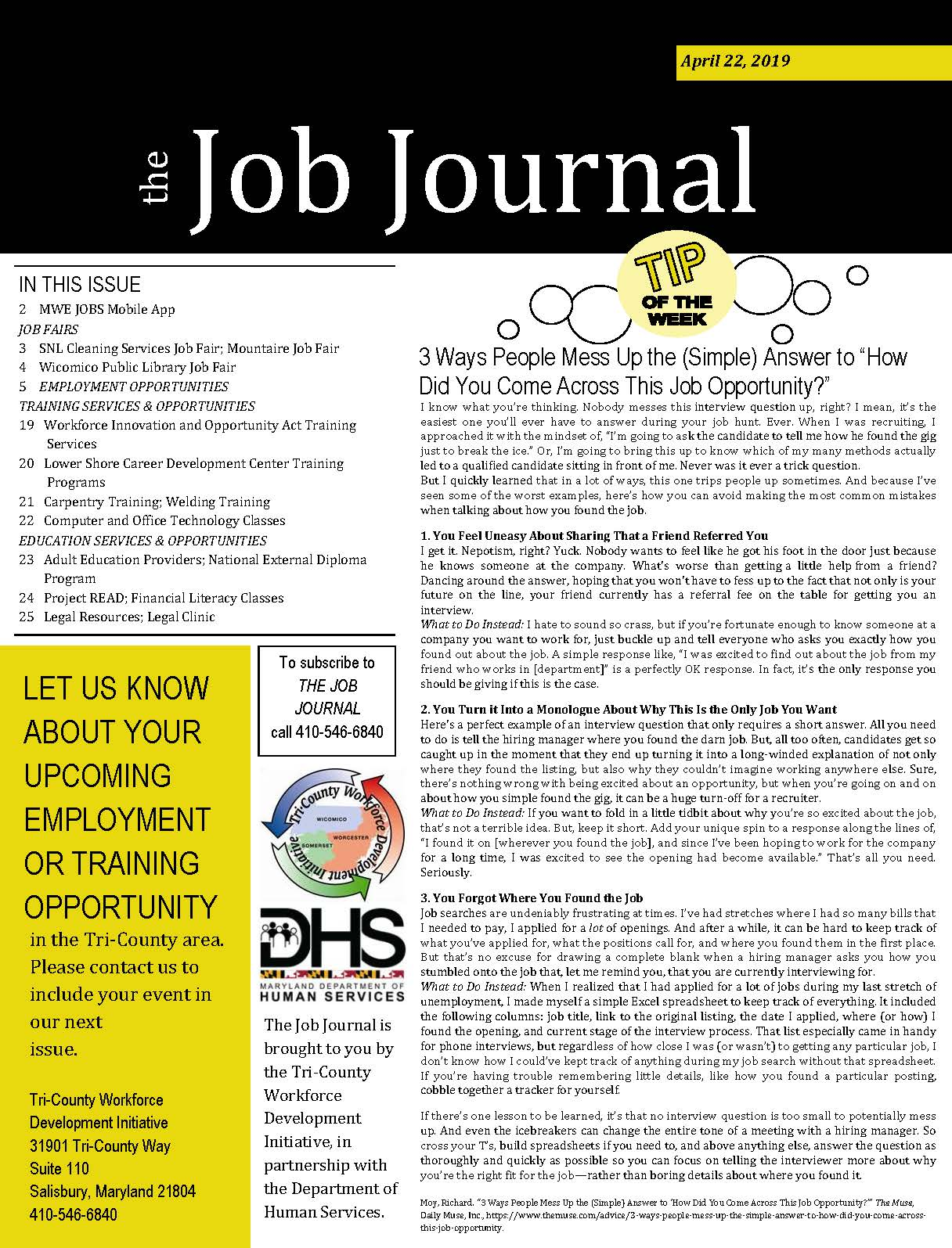 Cover Page for The Job Journal 04222019