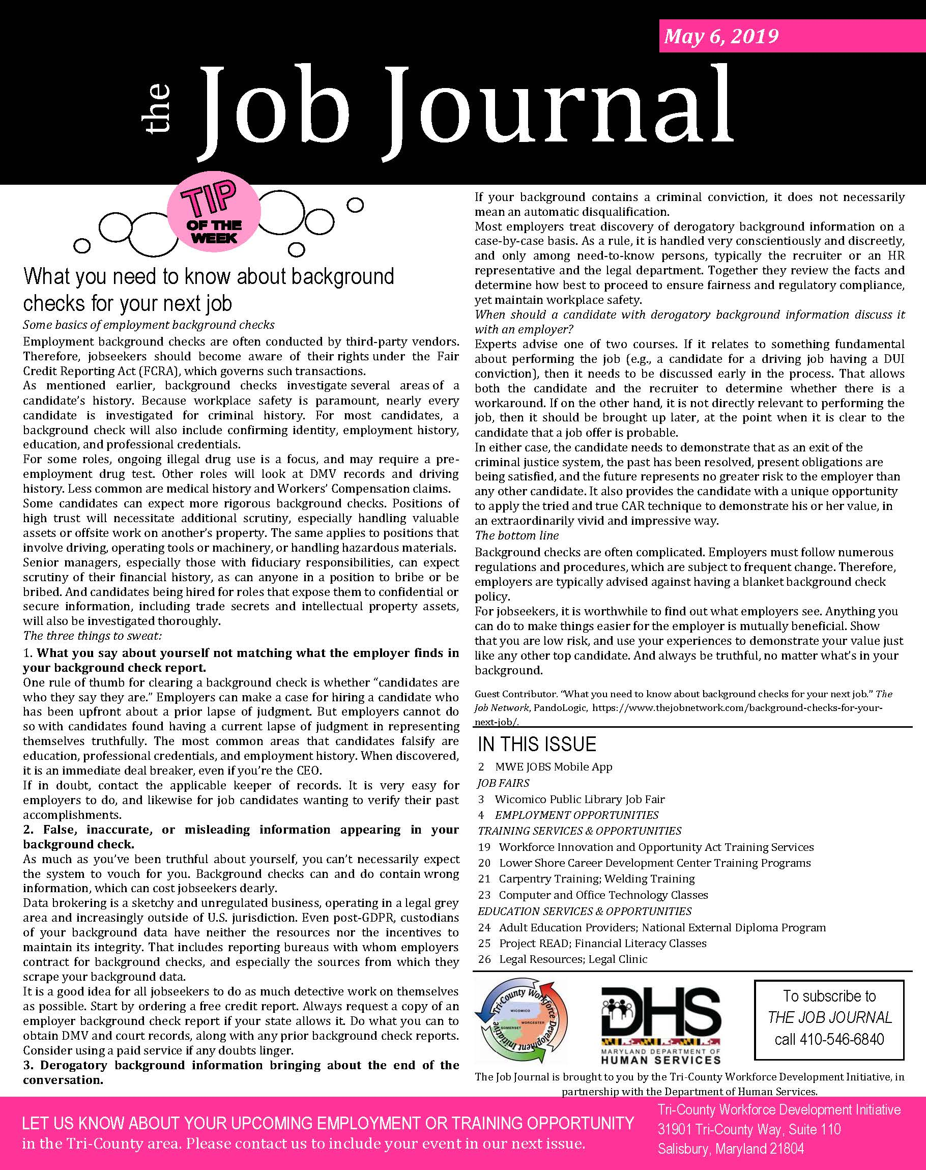 Front page of the Job Journal 05062019