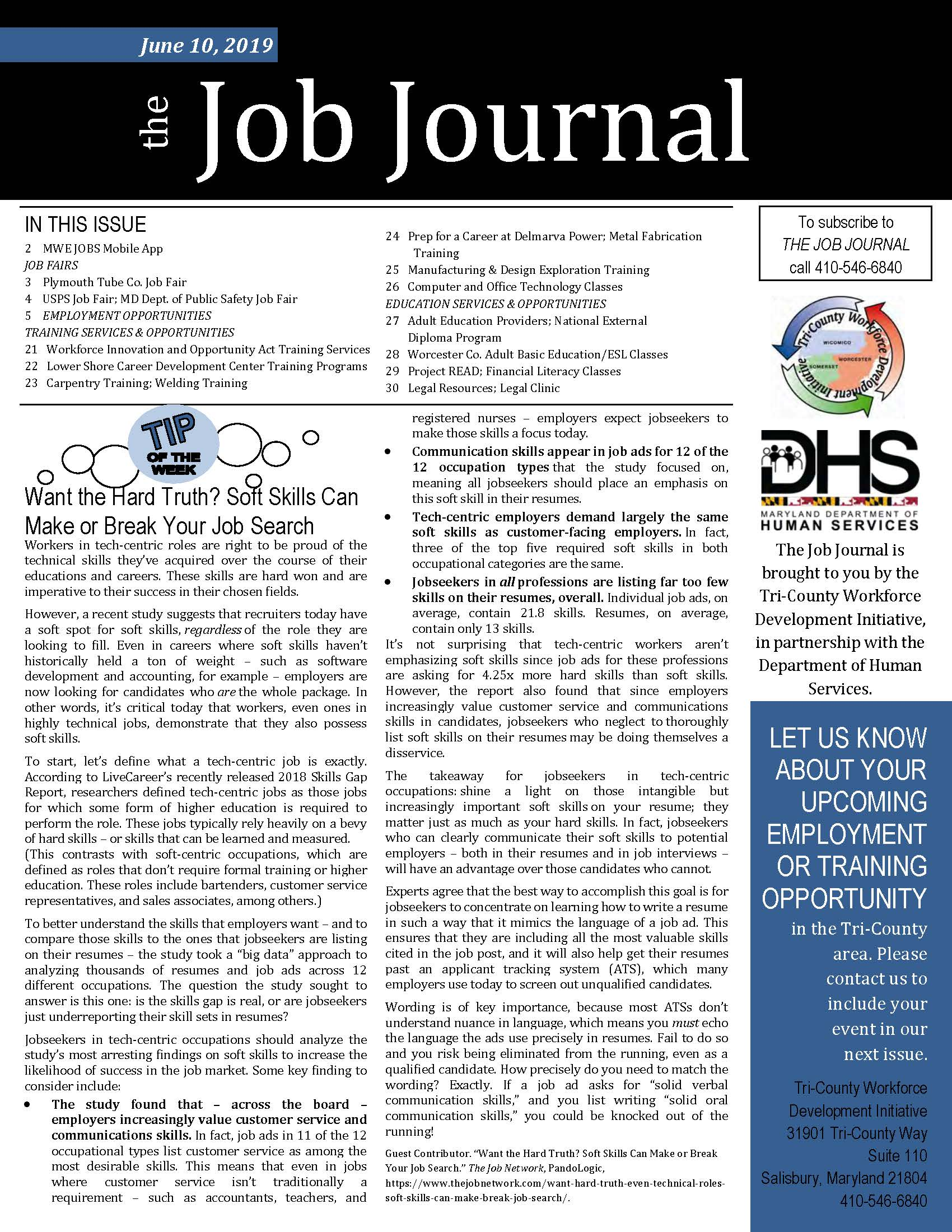 Front cover of The Job Journal 06.10.2019