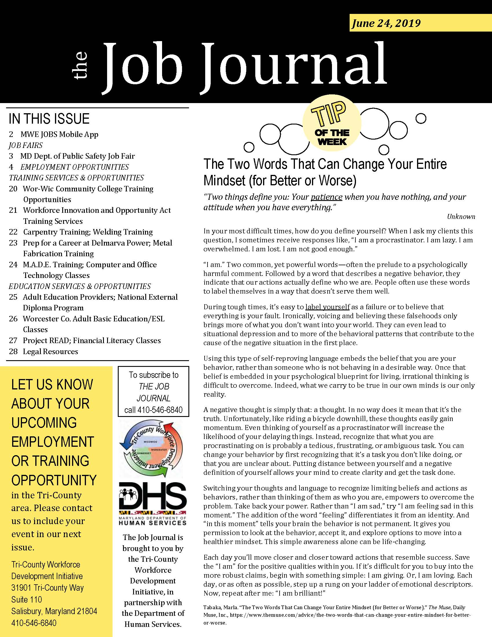 Cover page for the Job Journal 06.24.2019